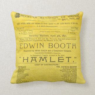 Edwin Booth Hamlet Program Throw Pillow