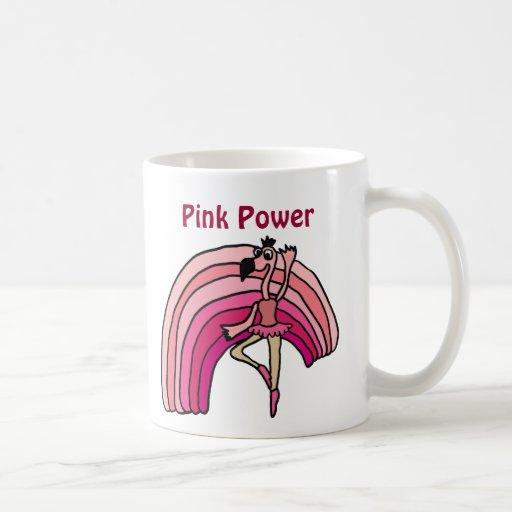 EE diseño rosado del flamenco y del arco iris del  Taza Básica Blanca
