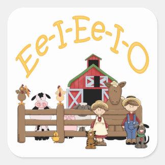 EE I EE I O en la granja Calcomanías Cuadradas Personalizadas