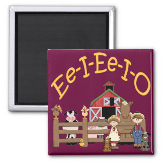 Ee I Ee I O on the Farm 2 Inch Square Magnet