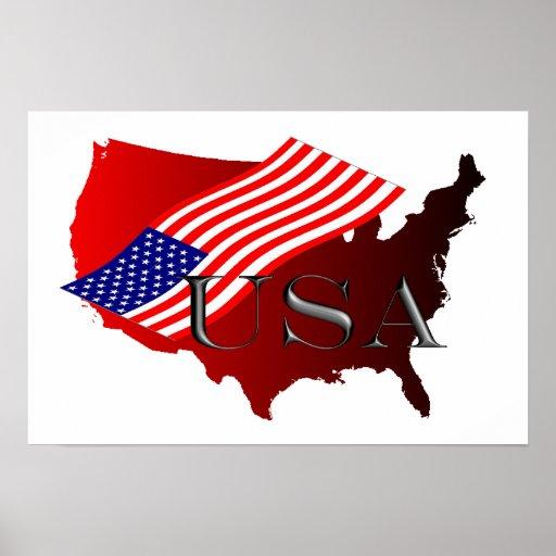 EE.UU. roja+Bandera Poster