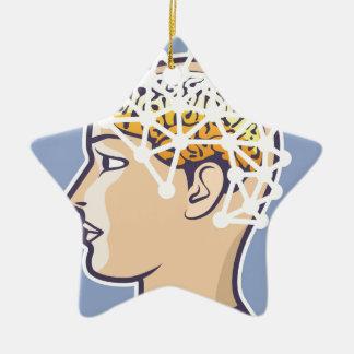 EEG brainwave reading Vector Ceramic Ornament