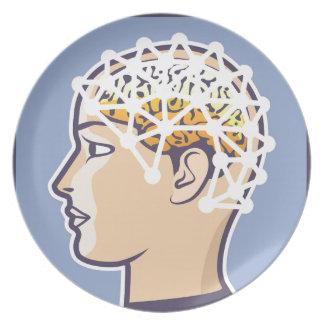 EEG brainwave reading Vector Dinner Plate