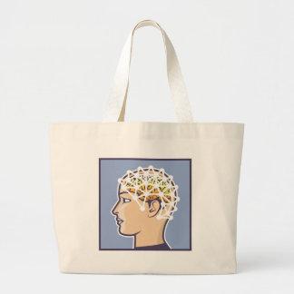 EEG brainwave reading Vector Large Tote Bag