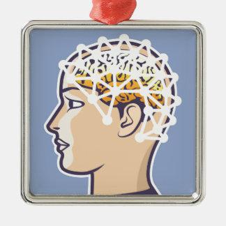 EEG brainwave reading Vector Metal Ornament