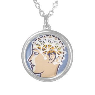 EEG brainwave reading Vector Silver Plated Necklace