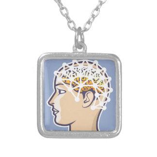 EEG brainwave reading Vector Square Pendant Necklace