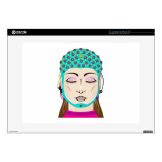 "EEG device Mind reading scanning Brain signals Decals For 15"" Laptops"