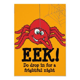 Eek! big red spider Halloween party invitation