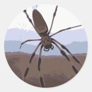 Eek! Brown spider! Classic Round Sticker