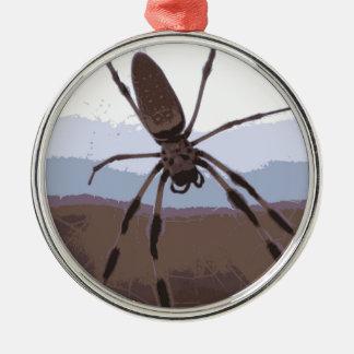 Eek! Brown spider! Metal Ornament
