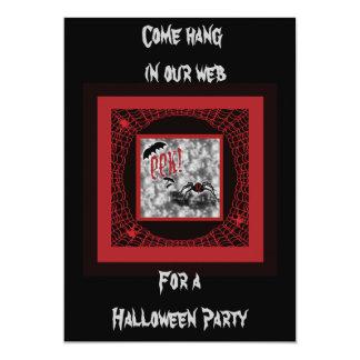 Eek!  Red & Black Halloween Spider & Web Card