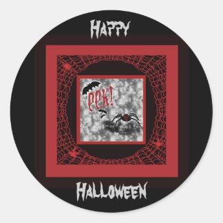 Eek!  Red & Black Halloween Spider & Web Classic Round Sticker