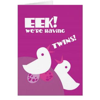 EEK we're having twins! greeting card tweeter bird