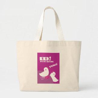 EEK we're having twins! greeting card tweeter bird Tote Bag