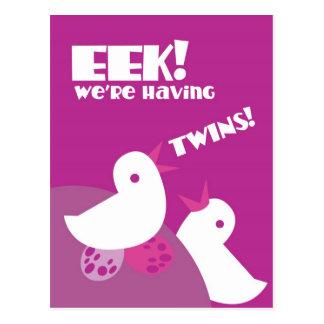 EEK we're having twins! greeting card tweeter bird Postcard