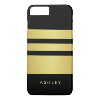 Eelgant Black Gold Glitter Stripes Pattern iPhone 7 Plus Case