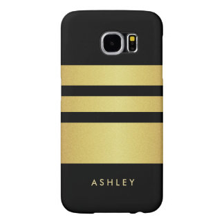 Eelgant Black Gold Glitter Stripes Pattern Samsung Galaxy S6 Case