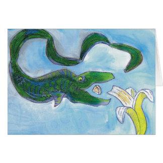 Eels eat bananas! greeting card