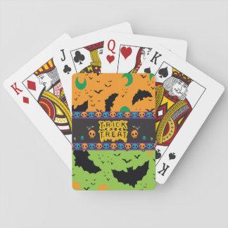 Eerie Bats and Moon Orange Green Halloween Skulls Playing Cards