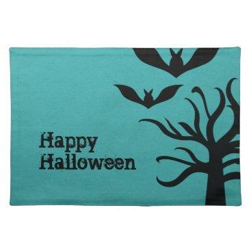 Halloween Themed Eerie Bats Halloween Placemat, Aqua Cloth Placemat