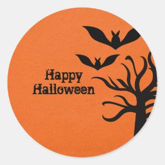 Eerie Bats Halloween Stickers, Orange Classic Round Sticker