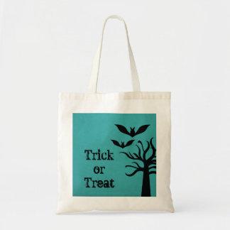 Eerie Bats Halloween Trick or Treat Bag, Aqua Budget Tote Bag