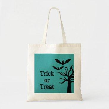 Halloween Themed Eerie Bats Halloween Trick or Treat Bag, Aqua Tote Bag