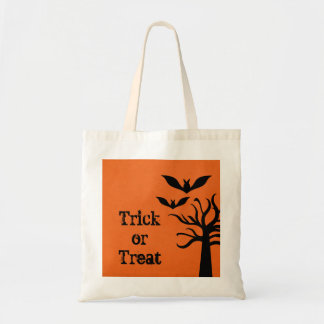 Eerie Bats Halloween Trick or Treat Bag, Orange Budget Tote Bag