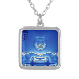 Eerie Big Brother Watches Fractal Square Pendant Necklace