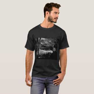 Eerie Black And White Churchyard T-Shirt