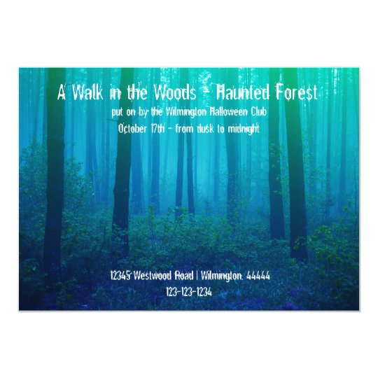 eerie blue forest haunted forest invitation