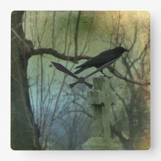 Eerie Crow Square Wall Clock