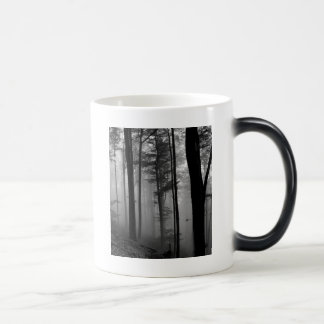 EERIE FOREST TREES LEAVES B&W 11 OZ MAGIC HEAT Color-Changing COFFEE MUG