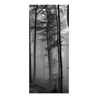 EERIE FOREST TREES LEAVES B&W PERSONALIZED RACK CARD