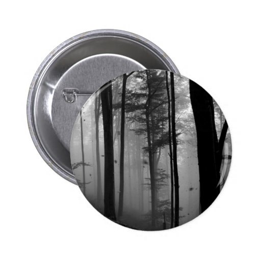 EERIE FOREST TREES LEAVES B&W PINBACK BUTTONS