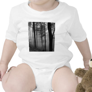 EERIE FOREST TREES LEAVES B&W TSHIRTS