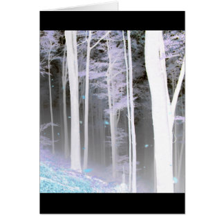 EERIE FOREST TREES LEAVES COLOR NEGATIVE CARD