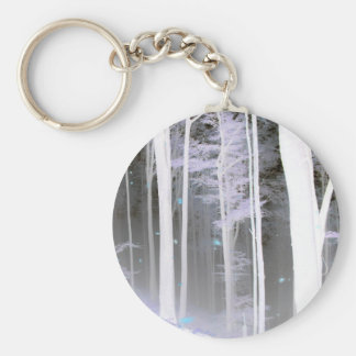 EERIE FOREST TREES LEAVES COLOR NEGATIVE KEYCHAIN