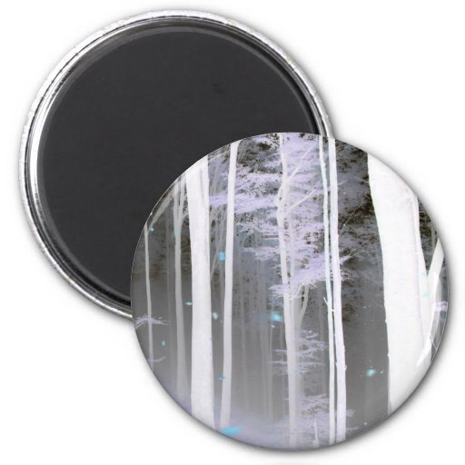 EERIE FOREST TREES LEAVES COLOR NEGATIVE REFRIGERATOR MAGNETS