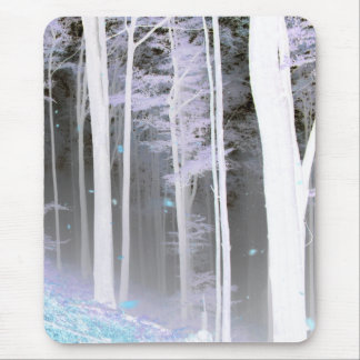 EERIE FOREST TREES LEAVES COLOR NEGATIVE MOUSE PAD