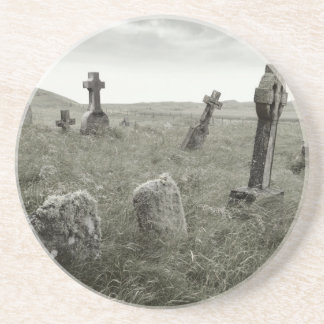 Eerie Gravesite Sandstone Coaster