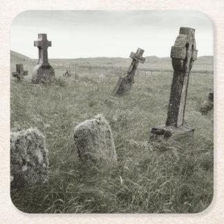 Eerie Gravesite Square Paper Coaster
