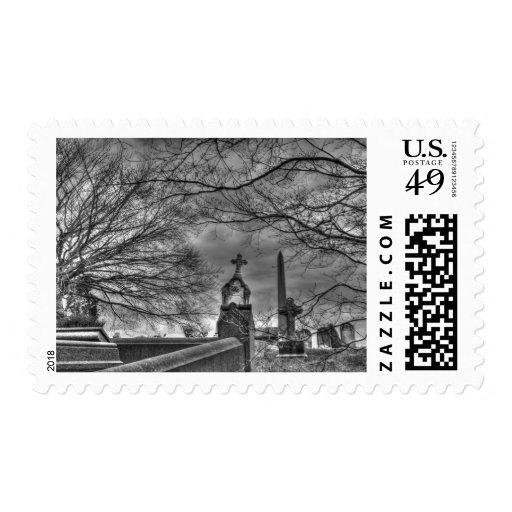 eerie graveyard stamp