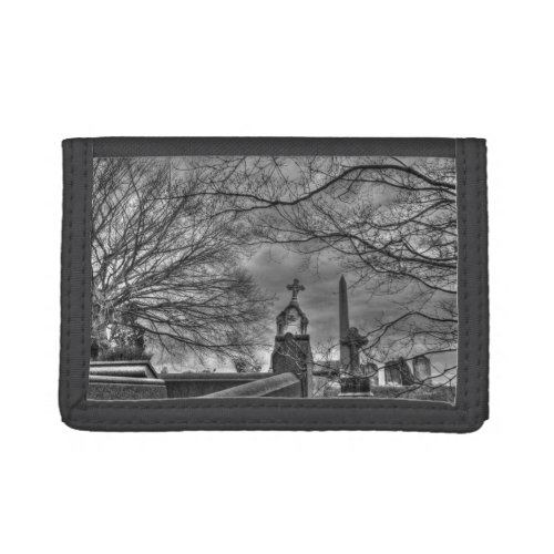 eerie graveyard trifold wallet