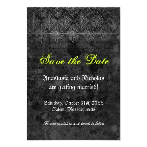 Eerie Halloween Wedding Save The Date Card 35 X 5