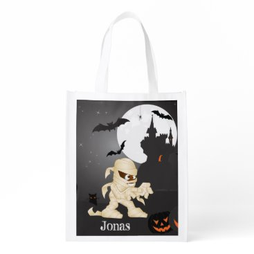Halloween Themed Eerie Night Halloween Scene with Your Name Grocery Bag