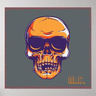 Eerie Orange Skull M.C. Biker Poster