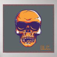 Eerie Orange Skull M.C. Poster