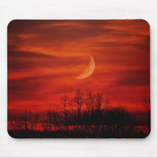 Eerie Red Night With Half Moon Mousepad